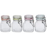 Multi-Color Seal Square Glass Mason Jars