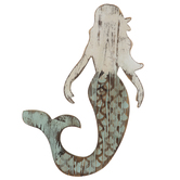 Distressed Mint & White Mermaid Wood Wall Decor