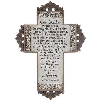 Matthew 6:9-13 Floral Trim Wall Cross