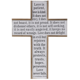 1 Corinthians 13:4-8 Wood Wall Cross