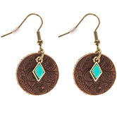 Embossed Round Leather Earrings