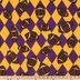 Purple & Gold Footballs Fleece Fabric