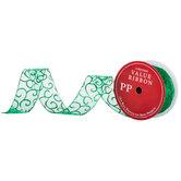 """Green Glitter Scroll Sheer Wired Edge Ribbon - 2 1/2"""""""