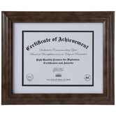 """Brown Wood Document Frame - 11"""" x 8 1/2"""""""
