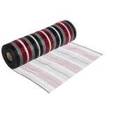 "Red, Black & White Striped Metallic Deco Mesh Ribbon - 10"""