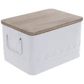 White Patterned Enameled Metal Container - Small