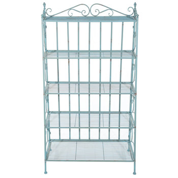 Turquoise Distressed Five-Tiered Metal Baker's Rack