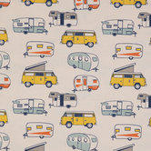 Vintage Camper Duck Cloth Fabric