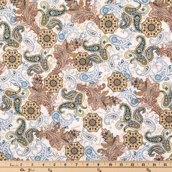 Blue & Brown Paisley Cotton Calico Fabric
