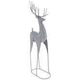 Silver Glitter Metal Reindeer