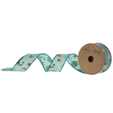 "Shells & Anchors Wired Edge Burlap Ribbon - 1 1/2"""