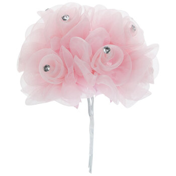 Pink Organza Rose Pick