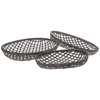 Dark Brown Woven Oval Tray Set