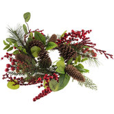 """Red Berry & Pinecone Candle Ring - 6"""""""