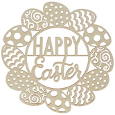 Happy Easter Egg Wreath Wood Shape