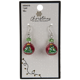 Red & Green Christmas Tree Glass Pearl Earrings