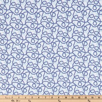 White & Blue Nautical Rope Cotton Fabric