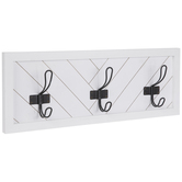 White & Black Wood Wall Decor With Hooks