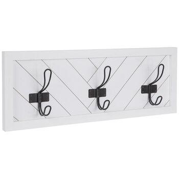 White & Black Wood Wall Decor With Hooks