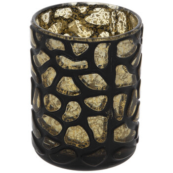 Black & Gold Stone Pattern Glass Vase