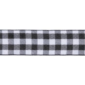 "Black & White Buffalo Check Wired Edge Ribbon - 2 1/2"""