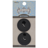 Shiny Black Round Buttons - 28mm