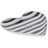 Love Striped Heart Jewelry Dish