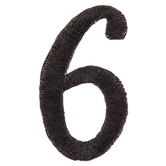 Black Embroidered Number Iron-On Applique 6 - 1 1/2""