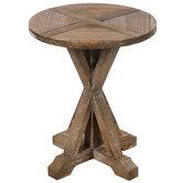 Rustic Wood Pedestal Table