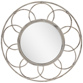 Distressed Cream Round Metal Wall Mirror