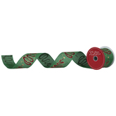"""Star & Glitter Trees On Green Wired Edge Ribbon - 2 1/2"""""""
