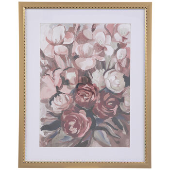 Pink & Red Floral Framed Wall Decor