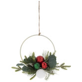 Frosted Pine & Ornament Hoop Wreath