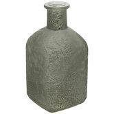 Green & White Frosted Square Vase