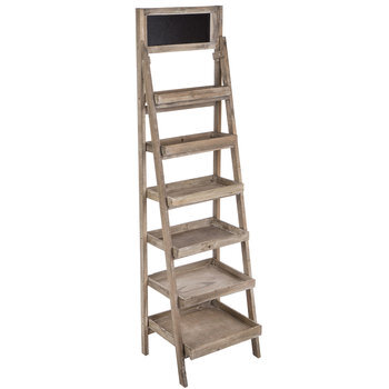 Six-Tiered Tapered Wood Shelf With Chalkboard