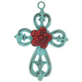 Turquoise & Red Flower Metal Wall Cross