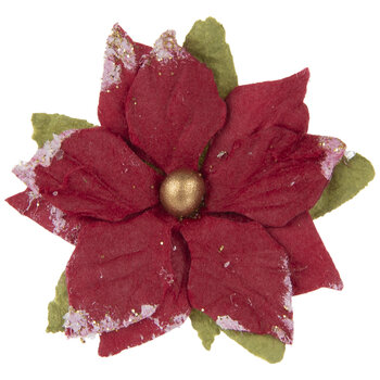 Red Frosted Poinsettia Embellishments