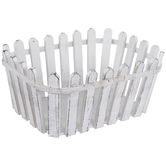 Distressed White Fence Wood Basket