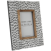 "White & Black Spotted Wood Frame - 4"" x 6"""