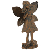 Bronze Fairy Holding Flower