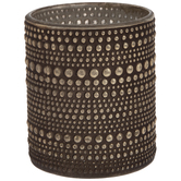 Studded Metallic Glass Candle Holder