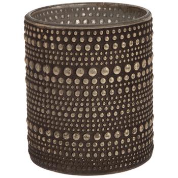 Studded Metallic Glass Candle Holder