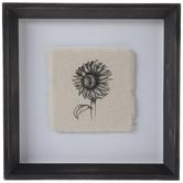 Sunflower On Linen Framed Wall Decor