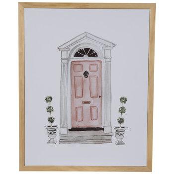 Pink Door Wood Wall Decor
