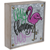 Crazy Flamingo Lady Metal Decor