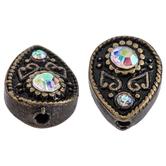 Teardrop Rhinestone Metal Beads