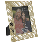 "Gold Hash Lattice Metal Frame - 5"" x 7"""