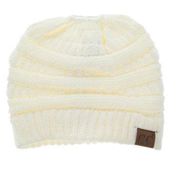 Ivory C.C. Knit Messy Bun Beanie