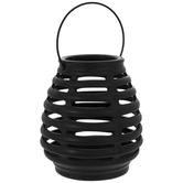 Black Round Slotted Lantern