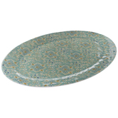 Green & White Floral Tile Platter